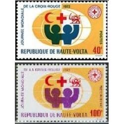 2 عدد تمبر  صلیب سرخ - شیر و خورشید - ولتای علیا 1972