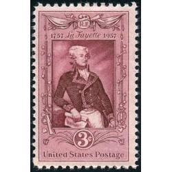 1 عدد تمبر یادبود ژنرال لافایاته - آمریکا 1957