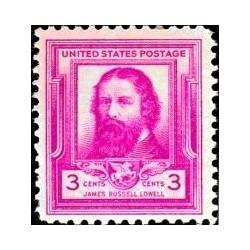 1 عدد تمبر یادبود مشاهیر آمریکا - جیمز راسل لوول - شاعر  - آمریکا 1940