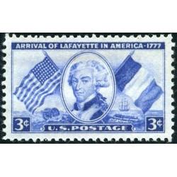 1 عدد تمبر 175مین سالگرد ورود مارکوئیز دلافائیته - چهره شاخص انقلاب فرانسه - آمریکا 1952