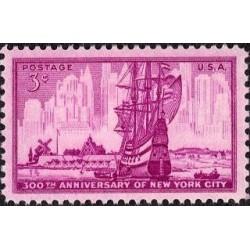 1 عدد تمبر 300 سالگرد شهر نیویورک - آمریکا 1953