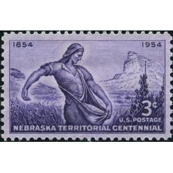 1 عدد تمبر صدمین سالگرد قلمرو نبراسکا - آمریکا 1954