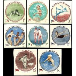8 عدد تمبر بازیهای المپیک ملبورن - تصویر جهان پهلوان تختی  و پرچم ایران - بیدندانه - جمهوری دومنیکن 1960