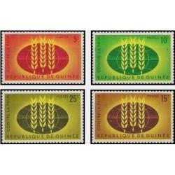 4 عدد تمبر نجات از گرسنگی - جمهوری گینه 1963