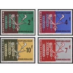 4 عدد تمبر نجات از گرسنگی - رواندا 1963