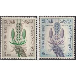 2 عدد تمبر نجات از گرسنگی - سودان 1963