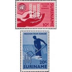 2 عدد تمبر نجات از گرسنگی  - سورینام 1963