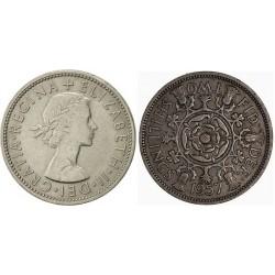 سکه 2 شیلینگ - نیکل مس - انگلیس 1957 غیر بانکی