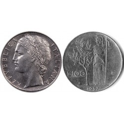 سکه 100 لیر - Acmonital - ایتالیا 1957 غیر بانکی