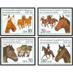 4 عدد تمبر اسبها - چهلمین نمایشگاه بین المللی پرورش دهنگان اسب و کنگره کشورهای سوسیالیست  - جمهوری دموکراتیک آلمان 1989