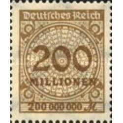 1 عدد تمبر سری پستی -سورشارژ 200 میلیون مارک - رایش آلمان 1923 با شارنیه