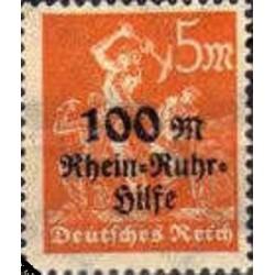 1 عدد تمبر سری پستی خیریه رین روهر -سورشارژ 100 مارک - رایش آلمان 1923