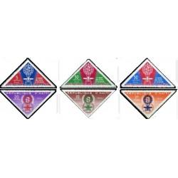 6 عدد تمبر  ریشه کنی مالاریا - پست هوائی - مثلثی - هائیتی 1962