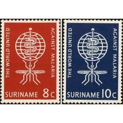 2 عدد تمبر ریشه کنی مالاریا - سورینام 1962