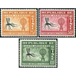3 عدد تمبر ریشه کنی مالاریا  - جمهوری گینه 1962