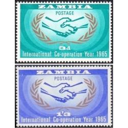 2 عدد تمبر سال همکاری بین المللی - زامبیا 1965