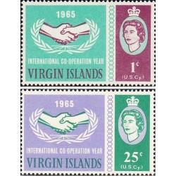 2 عدد تمبر سال همکاری بین المللی - جزایر ویرجین 1965