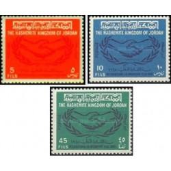 3 عدد تمبر سال همکاری بین المللی - اردن 1965