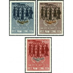 3 عدد تمبر سال همکاری بین المللی -ویتنام جنوبی 1965
