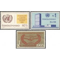3 عدد تمبر سال همکاری بین المللی  و سالگرد سازمان ملل - چک اسلواکی 1965