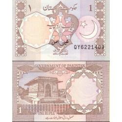اسکناس 1 روپیه - پاکستان 1983 امضا معین افضل  - 97% یک لک کوچک در حاشیه بالا