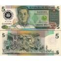 اسکناس 5 پیزو - سورشارژ یادبود دیدار رئیس جمهور کورازون آکوینو از ایالات متحده - فیلیپین 1986