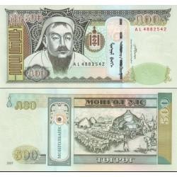 اسکناس 500 تغریک - تصویر چنگیزخان - مغولستان 2007