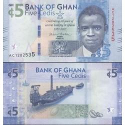 اسکناس 5 سدی - یادبود شصتمین سال تاسیس بانک مرکزی غنا - غنا 2017  - 4 مارس 2017