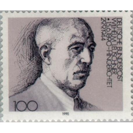 1 عدد تمبر صدمین سالگرد تولد ویلهلم لوشنر - رهبر اتحادیه کارگری - جمهوری فدرال آلمان 1990