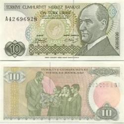 اسکناس 10 لیر - ترکیه 1970 در وانرمارک ابروی اتاتورک پر پشت