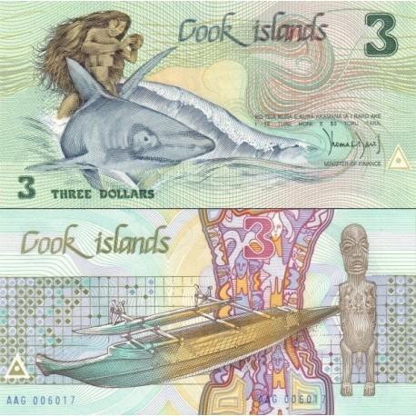 اسکناس 3 دلار - جزایر کوک 1987
