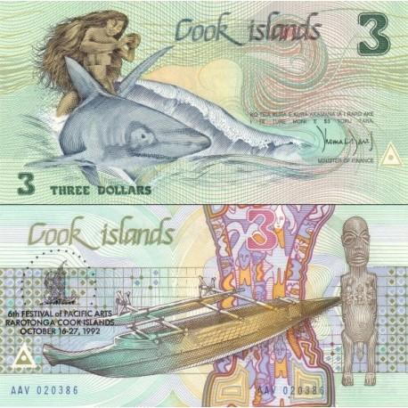 اسکناس 3 دلار - سورشارژ یادبود ششمین جشنواره هنرهای اقیانوس آرام در راروتونگا - جزایر کوک 1992