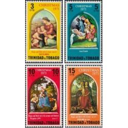 4 عدد تمبر کریستمس - تابلو نقاشی - ترینیداد و توباگو 1971
