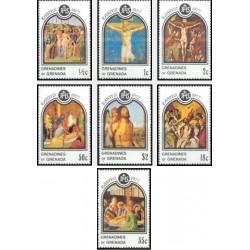 7 عدد تمبر عید پاک - تابلوهای نقاشی اثر هنرمندان مشهور  - گرندین گرانادا 1977