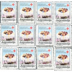 12 عدد تمبر خیریه - هفته صلیب سرخ  - یوگوسلاوی 1987