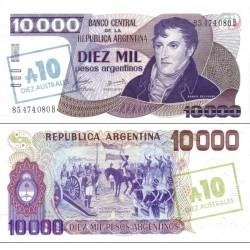 اسکناس 10 اوسترال - سورشارژ روی 10000 پزو - آرژانتین 1985 سورشارژ آبی رو و سورشارژ زیتونی در پشت