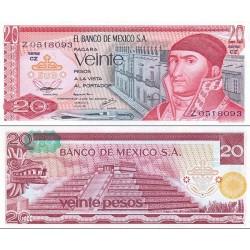 اسکناس 20 پزو - مکزیک 1977 با مهر بالا سمت چپ در پشت