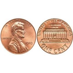 سکه 1 سنت - برنجی - آمریکا 1983غیر بانکی