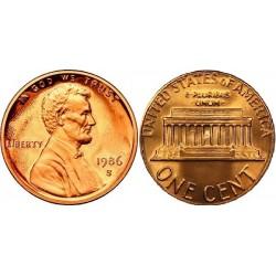 سکه 1 سنت - برنجی - آمریکا 1986غیر بانکی