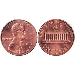 سکه 1 سنت - برنجی - آمریکا 2001 غیر بانکی