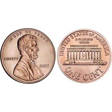 سکه 1 سنت - برنجی - آمریکا 2007 غیر بانکی
