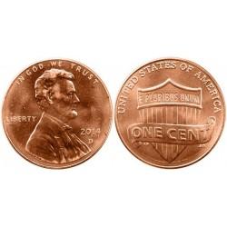 سکه 1 سنت - برنجی - آمریکا 2014 غیر بانکی