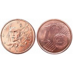 سکه 1 سنت یورو - مس روکش فولاد - فرانسه 2008 غیر بانکی