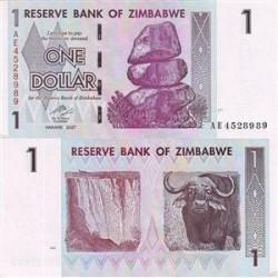 اسکناس 1دلاری زیمباوه 2007 تک بانکی