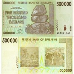 اسکناس 500000 دلاری زیمباوه  2008 تک