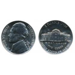 سکه 5 سنت - نیکل مس - آمریکا 1990 غیر بانکی