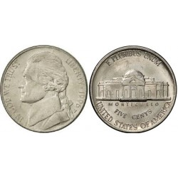 سکه 5 سنت - نیکل مس - آمریکا 1996 غیر بانکی