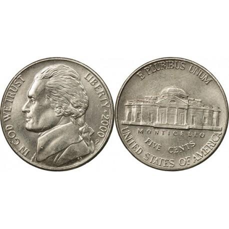 سکه 5 سنت - نیکل مس - آمریکا 2000 غیر بانکی