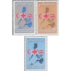 3 عدد تمبر پنجاهمین سالگرد اتحادیه انجمنهای صلیب سرخ - شیر و خورشید  - فیلیپین 1969