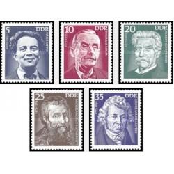 5 عدد تمبر شخصیتها - اوتو، مان ، شوایتزر ، میکلانژ و آمپره  - جمهوری دموکراتیک آلمان 1975